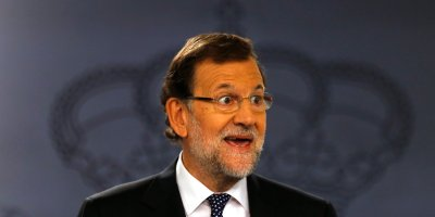 Spanish Prime Minister Mariano Rajoy delivers a statement at the Moncloa palace, the premier's official resident, in Madrid, Tuesday, Oct. 27, 2015. Rajoy promised Tuesday to defend Spain's unity by all legal means and said a proposal by two secessionist parties to have Catalonia's regional parliament announce the formal start of independence and the formation of a new republican state of Catalonia will have no effect. (AP Photo/Francisco Seco)