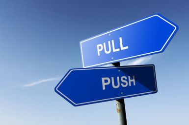 Pull and Push directions.  Opposite traffic sign.