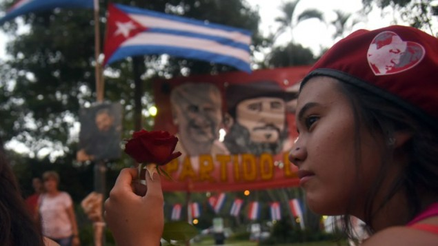 Supporters of Paraguay's Communist Party gather in Asuncion to pay tribute to deceased Cuban leader Fidel